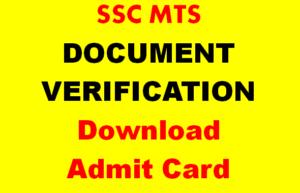 ssc mts document verification admit card
