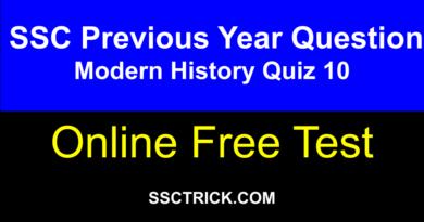 SSC Online Test Free [ Modern History Quiz 10 ]
